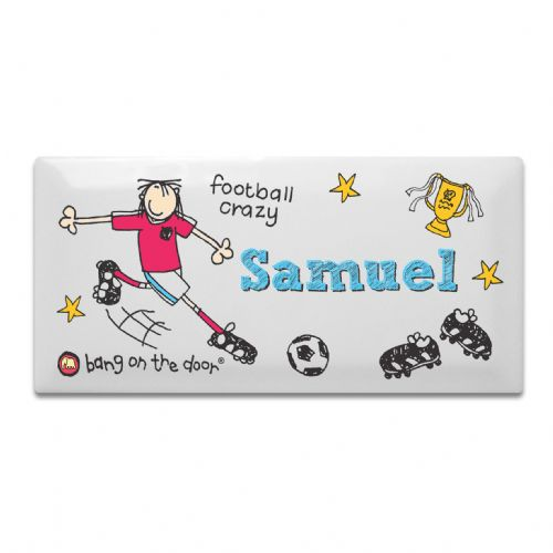 Personalised Bang on the Door Football Crazy Door Tile